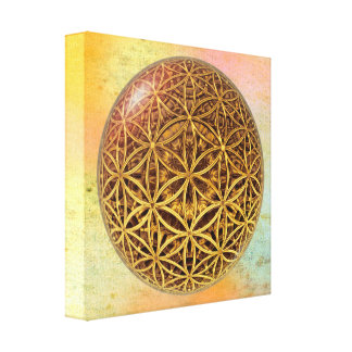 Flower Of Life / Blume des Lebens - ball grid gold Gallery Wrapped Canvas