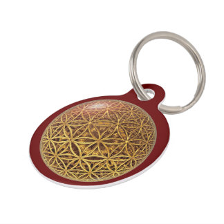 Flower Of Life / Blume des Lebens - ball grid gold Pet Tag