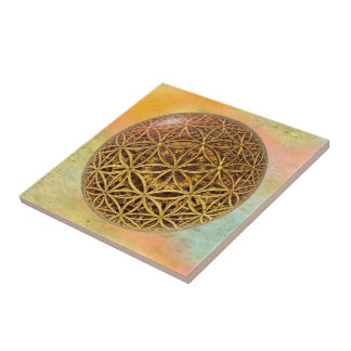 Flower Of Life / Blume des Lebens - ball grid gold Tile