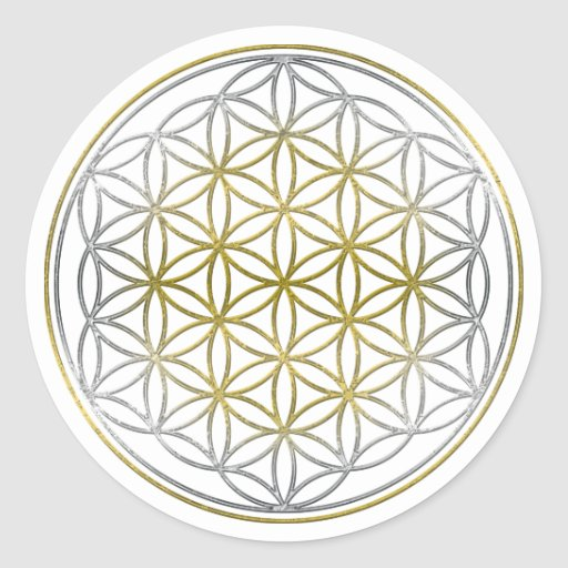 FLOWER OF LIFE / Blume des Lebens - BiColor Round Stickers