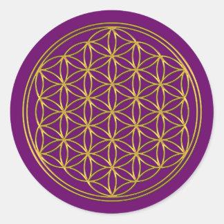 Flower Of Life / Blume des Lebens - brilliant gold Round Sticker