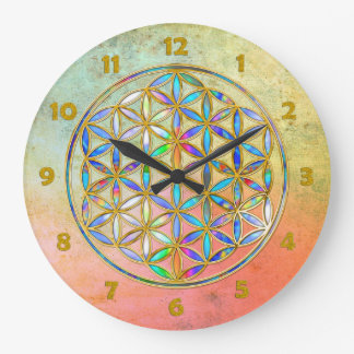 Flower of Life / Blume des Lebens - gold colorful Large Clock