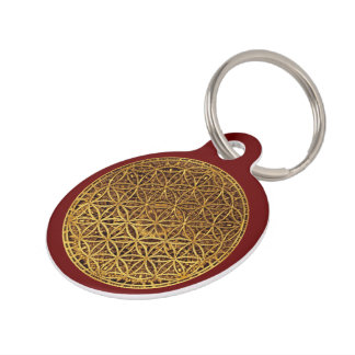 Flower Of Life / Blume des Lebens - medal gold Pet Name Tag