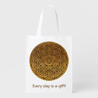 Flower Of Life / Blume des Lebens - medal gold Reusable Grocery Bag