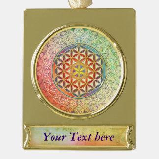 Flower Of Life / Blume des Lebens - Ornament I Gold Plated Banner Ornament