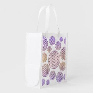 Flower of Life / Blume des Lebens - pattern violet Reusable Grocery Bag