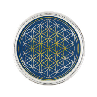 Flower Of Life / Blume des Lebens - silver gold Lapel Pin