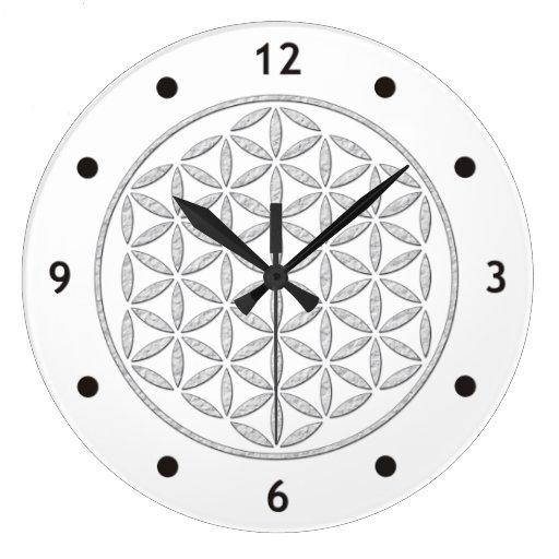 Flower Of Life / Blume des Lebens - stamp white Wallclock