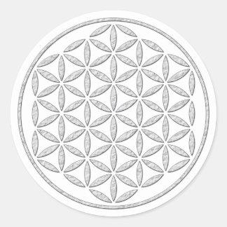 Flower Of Life / Blume des Lebens - stamp white Round Sticker