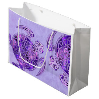 Flower Of Life / Blume des Lebens - turtle purple Large Gift Bag