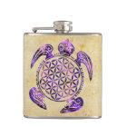 Flower of Life / Blume des Lebens - turtle purple Hip Flask