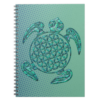 Flower of Life / Blume des Lebens turtle turquoise Notebook