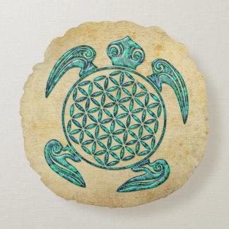 Flower of Life / Blume des Lebens turtle turquoise Round Cushion