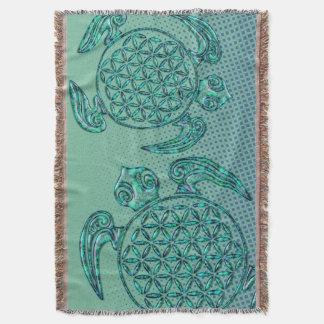 Flower of Life / Blume des Lebens turtle turquoise Throw