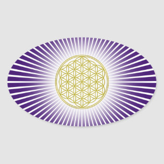 Flower Of Life / Blume des Lebens - white rays Oval Sticker