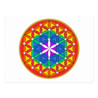 Flower of Life Chakra Sparkle Postcard