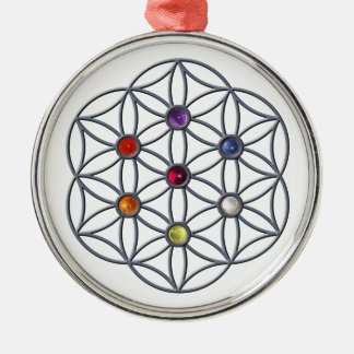 Flower of Life Chakras Gemstone Silver-Colored Round Decoration