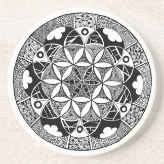 Flower of Life Coaster white border