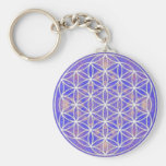 Flower of Life (Colour 3) Basic Round Button Key Ring