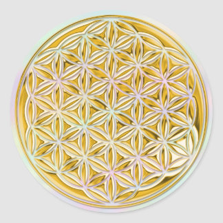 Flower Of Life / full gold | light coloured Round Sticker