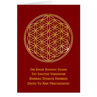 Flower Of Life & GAYATRI MANTRA   gold, dark red Card