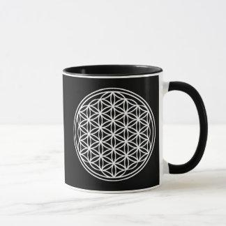 Flower of Life Geometry Grid Black 11 oz Mug