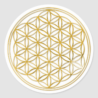 FLOWER OF LIFE - gold Round Sticker