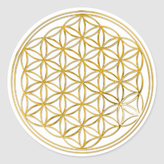 Flower Of Life | gold, small Classic Round Sticker