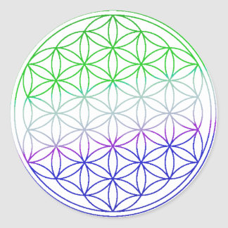 Flower of Life - Green & Purple Gradient Classic Round Sticker