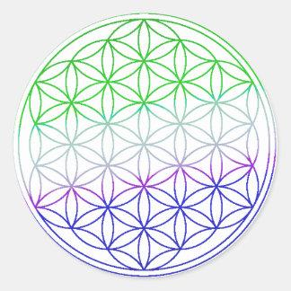 Flower of Life - Green & Purple Gradient Classic Round Sticker