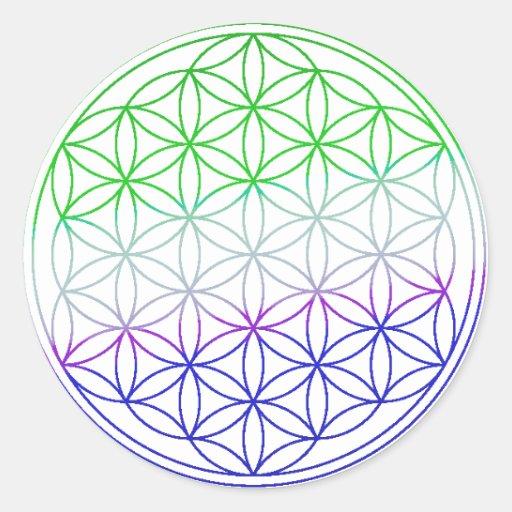 Flower of Life - Green & Purple Gradient Stickers