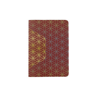 Flower of Life - grid pattern gold silver Passport Holder