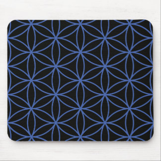 Flower of Life Large Pattern – Blue on Black Mouse Pad