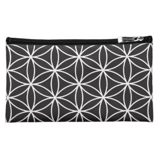 Flower of Life Large Pattern – White on Black Cosmetics Bags