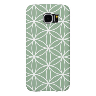 Flower of Life Large Pattern White on Green Samsung Galaxy S6 Cases