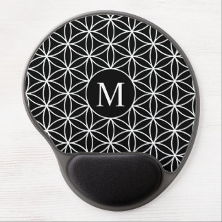 Flower of Life Lg Ptn (Personalised) White on Blk Gel Mouse Pad