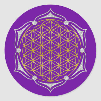 Flower Of Life - Lotus gold silver Round Sticker
