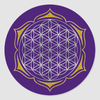 Flower Of Life - Lotus silver gold Round Sticker