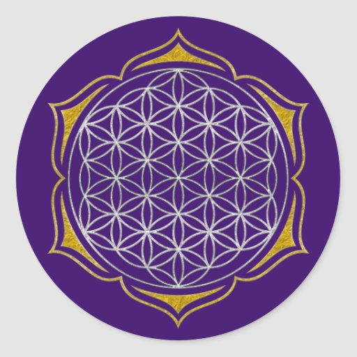 Flower Of Life - Lotus silver gold Round Stickers