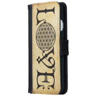 Flower Of Life - LOVE lettering tattoo black iPhone 6 Wallet Case