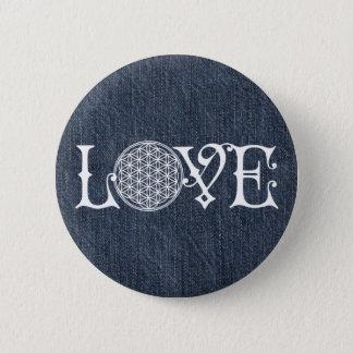 Flower Of Life - LOVE lettering tattoo white 6 Cm Round Badge