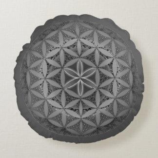 Flower of Life Mandala Gray Round Cushion