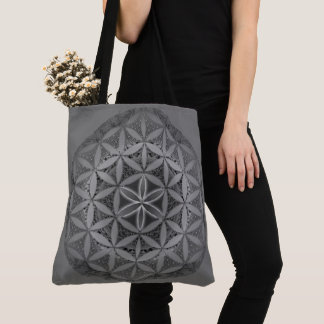 Flower of Life Mandala Gray Tote Bag