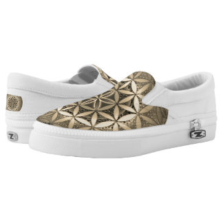Flower of Life Mandala in Sepia Colors Slip On Shoes