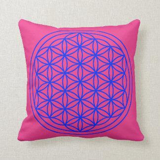 Flower of Life  Mandala Magenta Blue Pillow