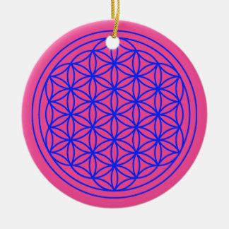 Flower of Life  Mandala Magenta Ornament