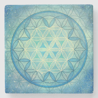 Flower of life marble coaster