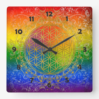 Flower of Life - Ornament Rainbow gold Wall Clocks
