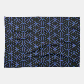 Flower of Life Pattern – Blue on Black Hand Towels