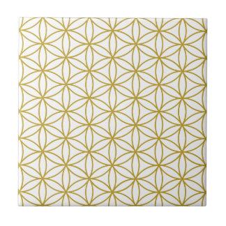 Flower of Life Pattern – Gold on White Tile